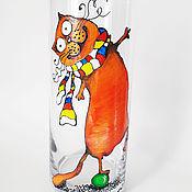 Для дома и интерьера ручной работы. Ярмарка Мастеров - ручная работа Ваза для цветов с росписью Рыжий кот. Handmade.