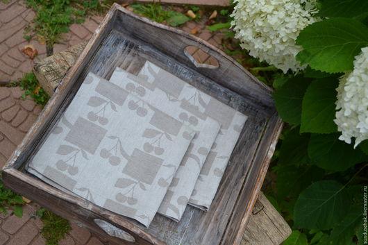 """Текстиль, ковры ручной работы. Ярмарка Мастеров - ручная работа. Купить Льняные салфетки для сервировки стола """"Вишни"""". Handmade."""