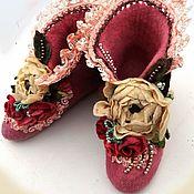 """Обувь ручной работы. Ярмарка Мастеров - ручная работа Тапочки валяные """"Винтажные"""". Handmade."""