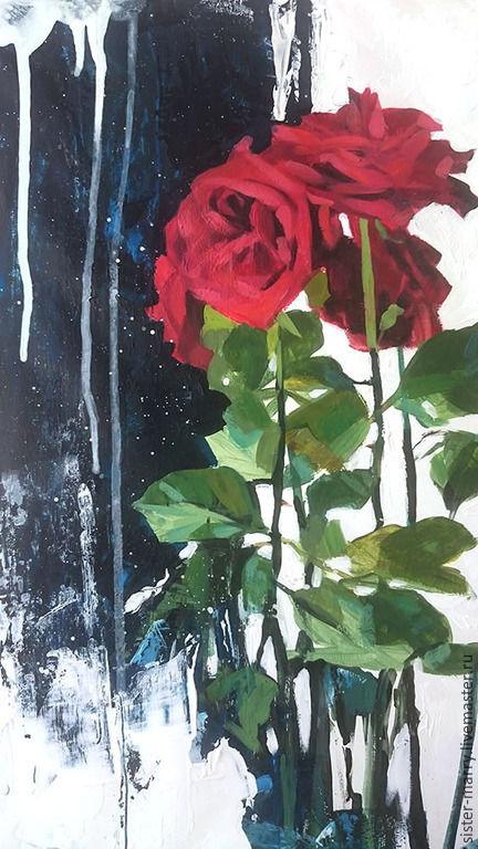 Натюрморт ручной работы. Ярмарка Мастеров - ручная работа. Купить Розы и музыка сфер. Handmade. Ярко-красный, современный стиль