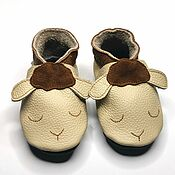 Обувь ручной работы handmade. Livemaster - original item Lamb Baby Shoes, Baby Booties, Beige Mocassins, Leather Baby Shoes. Handmade.