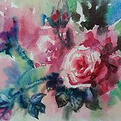 """Картины и панно ручной работы. Ярмарка Мастеров - ручная работа картина акварелью """"Розовое благоухание сада...."""". Handmade."""