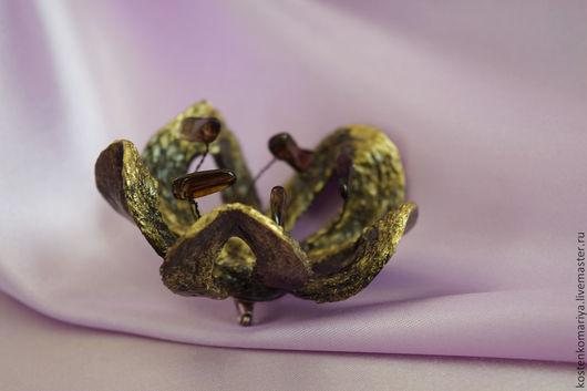 Броши ручной работы. Ярмарка Мастеров - ручная работа. Купить Цветок железной горы. Брошь-цветок. Украшение из джута. Handmade.