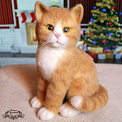 Куклы и игрушки handmade. Livemaster - original item red cat tangerine (toy made of felt, felting). Handmade.