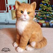 Куклы и игрушки ручной работы. Ярмарка Мастеров - ручная работа Рыжий кот Мандаринчик (игрушка из войлока, валяние). Handmade.
