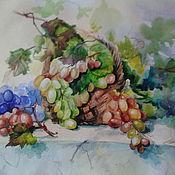 """Картины и панно ручной работы. Ярмарка Мастеров - ручная работа картина акварелью """"Виноградный вкусный """". Handmade."""