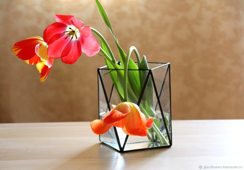 Ваза из стекла. Геометрическая ваза Loft