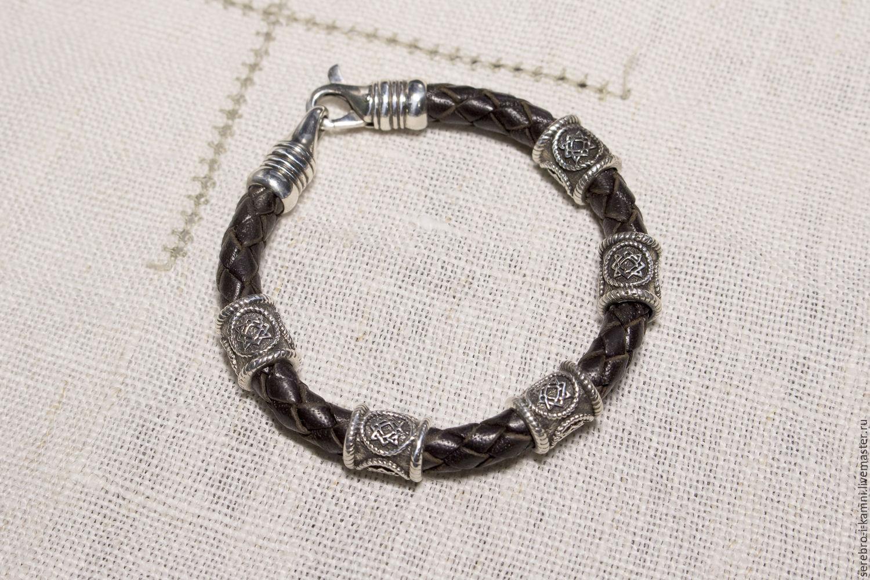 Купить женский кожаный браслет с серебром