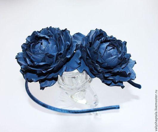 Диадемы, обручи ручной работы. Ярмарка Мастеров - ручная работа. Купить ободок с синими пионами. Handmade. Синий, ободок с пионами