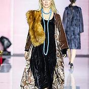 Одежда ручной работы. Ярмарка Мастеров - ручная работа Бархатное пальто, палантин  из лисы. Handmade.