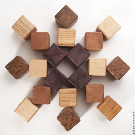 Развивающие игрушки ручной работы. Ярмарка Мастеров - ручная работа. Купить Кубики 5 пород. Handmade. Деревянные кубики