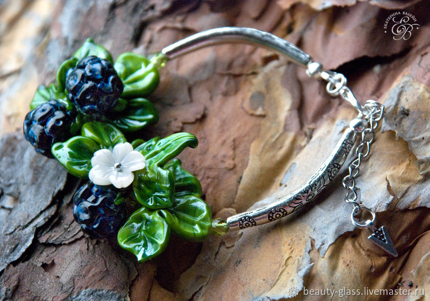 'BlackBerry' charm bracelet lampwork graceful budget, Bead bracelet, St. Petersburg,  Фото №1