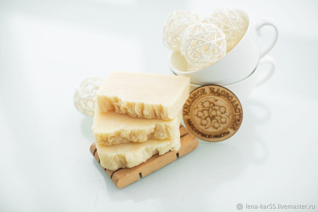 Мыло ручной работы натуральное с нуля Молочный десерт Молочное белый, Мыло, Новые Бурасы,  Фото №1
