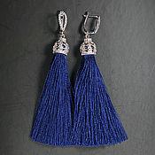 Серьги-кисти ручной работы. Ярмарка Мастеров - ручная работа Серьги-кисти тёмно-синие (9 см). Handmade.