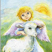Открытки handmade. Livemaster - original item An angel a Lamb and the Sun Postcard and poster for the birthday. Handmade.