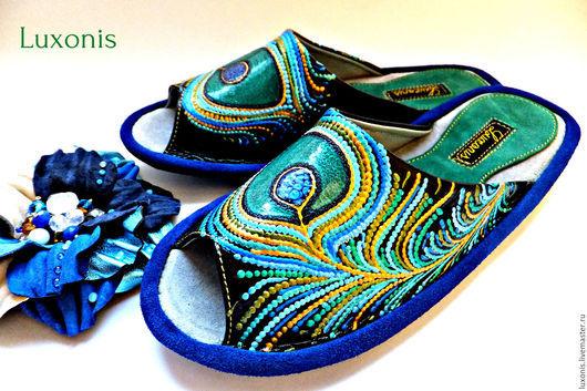 """Обувь ручной работы. Ярмарка Мастеров - ручная работа. Купить Тапочки """"Перо павлина"""". Handmade. Синий, птица счастья"""
