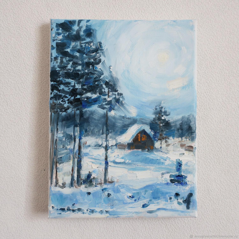 Пейзаж ручной работы. Ярмарка Мастеров - ручная работа. Купить Картина Зимний пейзаж. Handmade. 8 марта, голубой