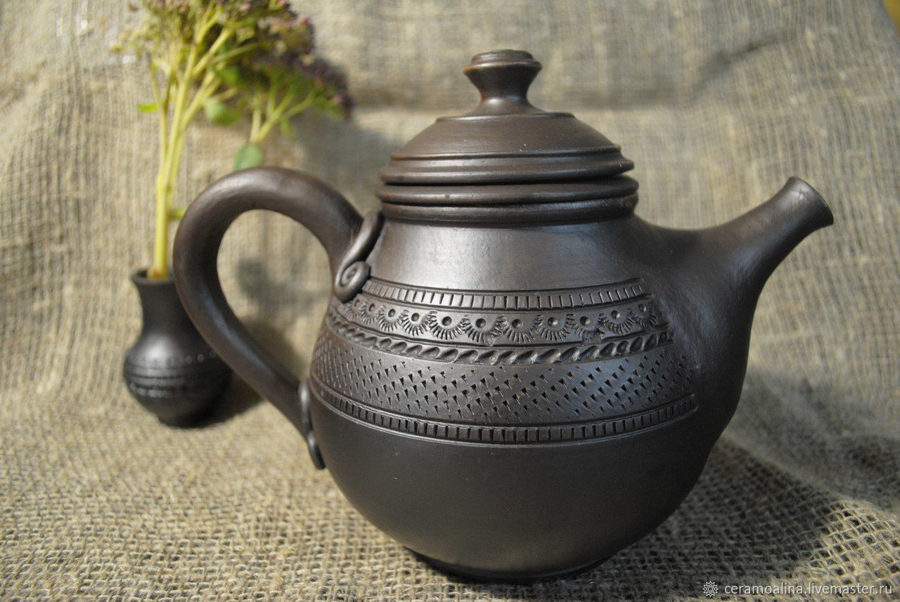 Teapot-herbalist medium with ornament free shipping!!!, Teapots & Kettles, Skopin,  Фото №1