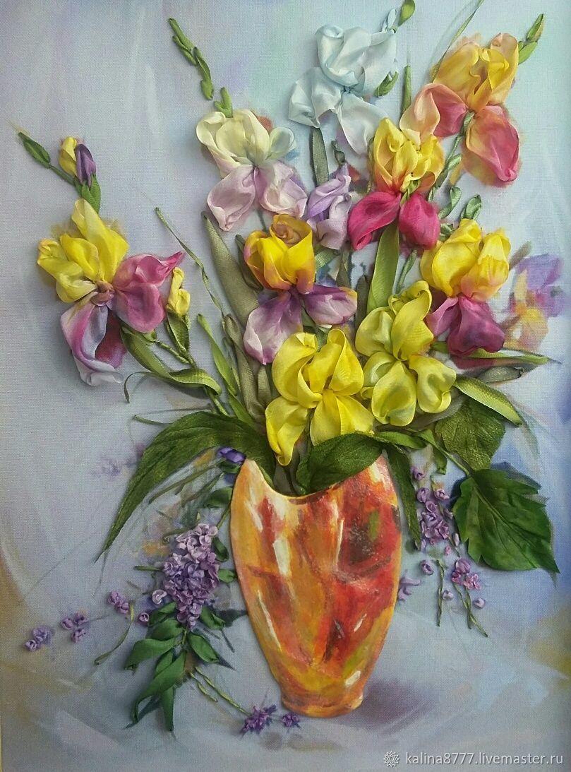 Вышивка лентами картина Ирисы в желтой вазе (желтый фиолетовый), Картины, Клинцы, Фото №1