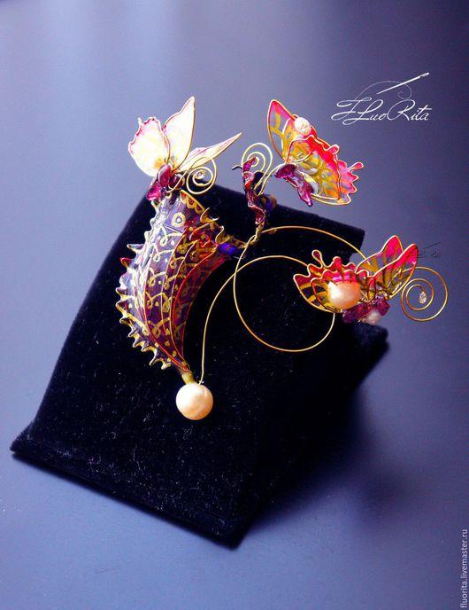 Броши ручной работы. Ярмарка Мастеров - ручная работа. Купить Коллекционная цветочная брошь, подарок женщине, Саррацения, Непентес. Handmade.