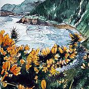 """Картины ручной работы. Ярмарка Мастеров - ручная работа Картина акварель, пейзаж. """"Морское побережье"""". Handmade."""