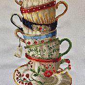 Картины ручной работы. Ярмарка Мастеров - ручная работа Вышитая картина «Очаровательные чашки». Handmade.