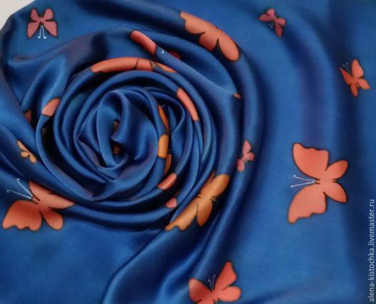 Шарфы и шарфики ручной работы. Ярмарка Мастеров - ручная работа. Купить Шарф Порхающие в ночи (темно-синий). Шелк 100%. Handmade.