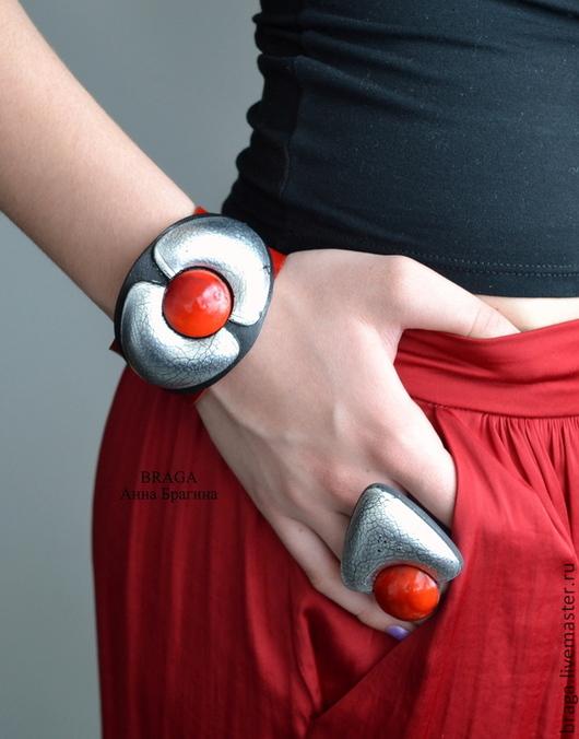 браслет, браслет с поталью, браслет с сусальным серебром, браслет красный, браслет на магнитной застежке, браслет авторский, браслет с кольцом
