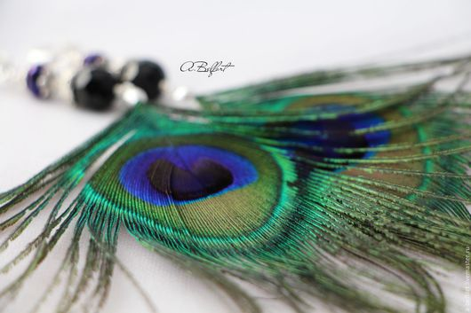 Earrings handmade. Livemaster - handmade. Buy earrings 'Oriental tale': peacock feather.Earrings with feathers, peacock