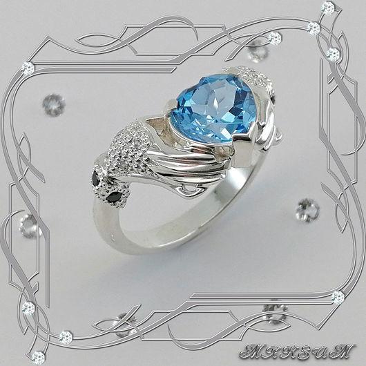 Ring 'Heart in hands' silver 925, Topaz, kr-l Swarovski, Rings, St. Petersburg,  Фото №1