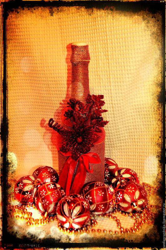 Новый год 2017 ручной работы. Ярмарка Мастеров - ручная работа. Купить Новогодние подарки (подарочное шампанское). Handmade. Новогоднее шампанское