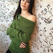 Одежда ручной работы. Ярмарка Мастеров - ручная работа Вязаный свитер с широким воротом. Handmade.