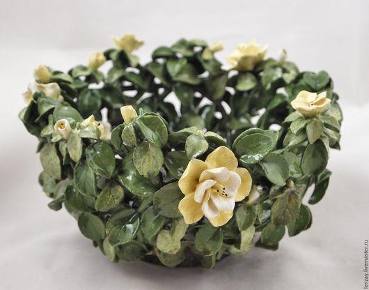 Ажурная пиала `Желтые бегонии`. Плетеная керамика и керамические цветы Елены Зайченко