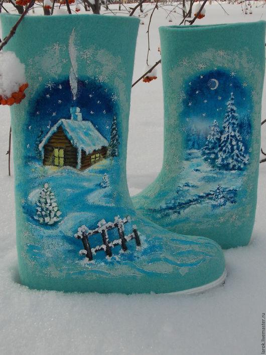 """Обувь ручной работы. Ярмарка Мастеров - ручная работа. Купить Валенки """"Зимняя тайна-3"""". Handmade. Бирюзовый, бирюзовый цвет"""