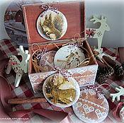 Подарки к праздникам ручной работы. Ярмарка Мастеров - ручная работа Набор новогодних подвесок Зимние узоры. Handmade.