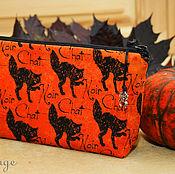 Сумки и аксессуары handmade. Livemaster - original item Halloween gift, Cosmetic bag Black seals. Handmade.