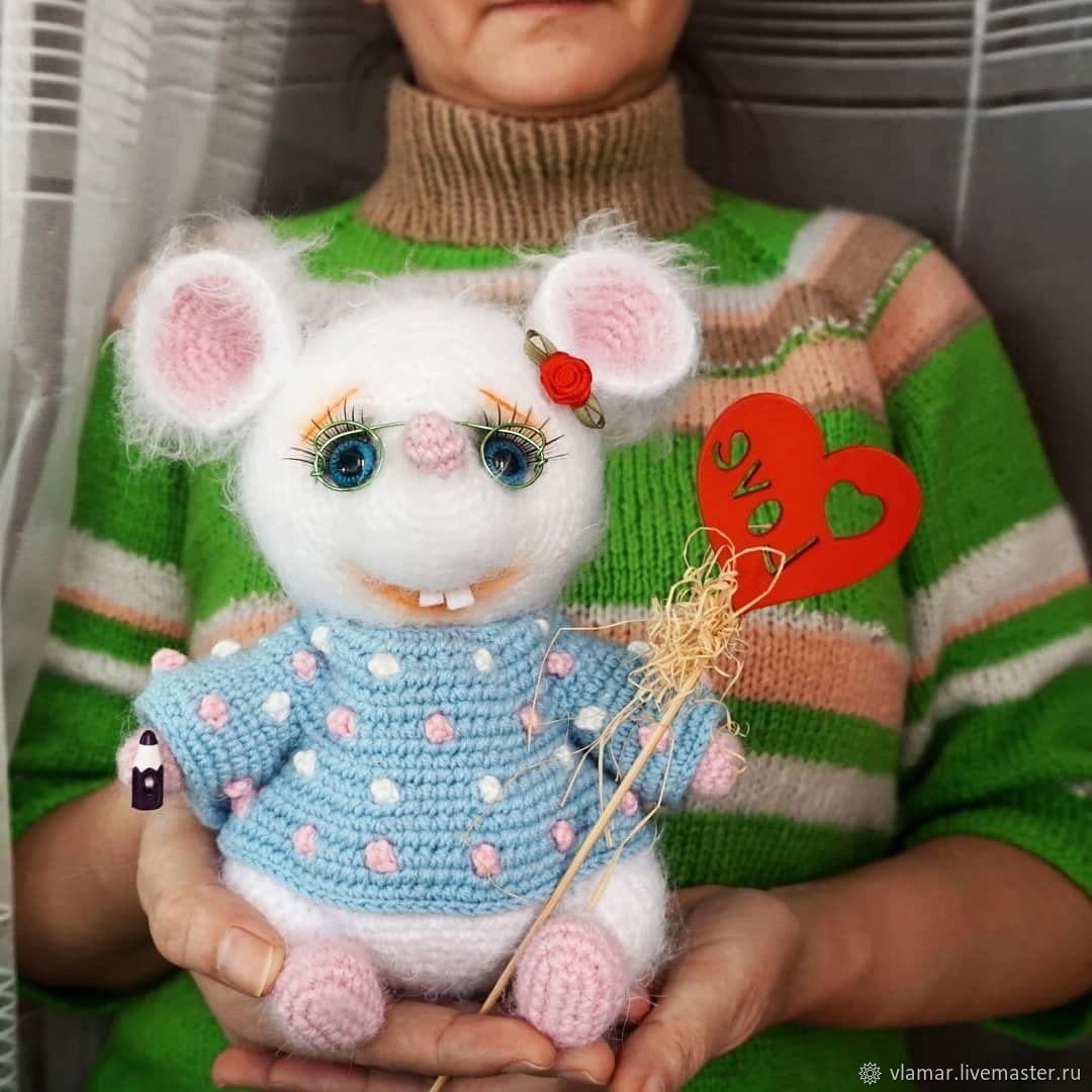 Белая Мышь Крючком - Символ 2020 года - Супер Подарок!, Мягкие игрушки, Ульяновск,  Фото №1