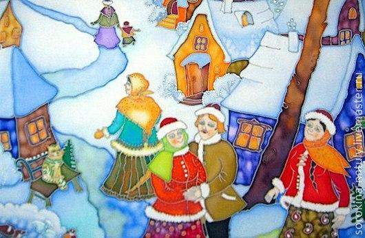 """Люди, ручной работы. Ярмарка Мастеров - ручная работа. Купить Картина батик """"Рождество 1"""" по мотивам Е.Шафранской.. Handmade."""
