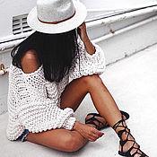 Одежда handmade. Livemaster - original item White summer sweater for girls at sea. Handmade.