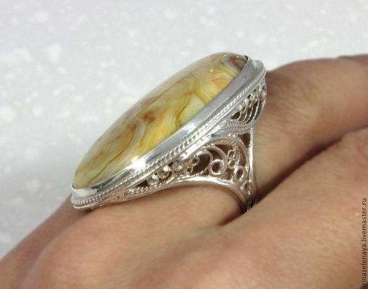 Кольцо с агатом в серебре купить. Серебряное кольцо купить. Подарок купить. Агат в серебре купить. Желтый агат купить. Филигрань купить. Магазин IrinaZelenaya. Ярмарка Мастеров.