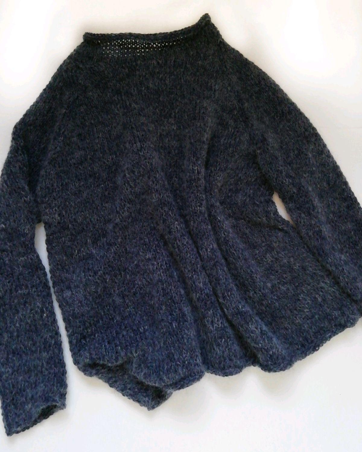 Fashionable calmer sweater, dark denim color, with a light melange, Jumpers, Balakovo,  Фото №1