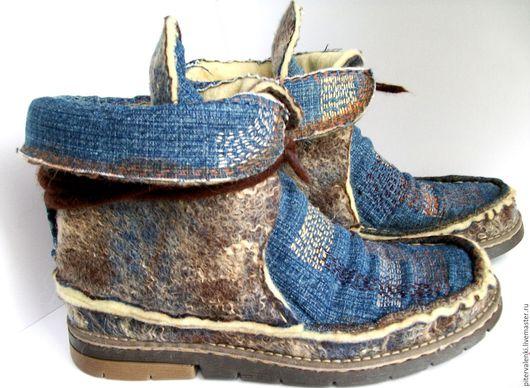 Ботинки валяные `Бохо`, ботинки войлочные, ботинки демисезонные, ботинки весна-осень,  дизайнерские ботинки, ботинки купить,уникальная дизайнерская обувь, авторская обувь Ирины Авраменко ручной работы