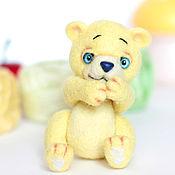 Куклы и игрушки ручной работы. Ярмарка Мастеров - ручная работа Лимонный мишка валяная игрушка. Handmade.