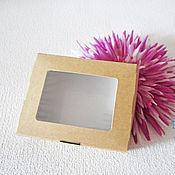 Коробки ручной работы. Ярмарка Мастеров - ручная работа Коробка крафт, с окошком, 10х8х3,5 см., коробочка, контейнер, эко. Handmade.