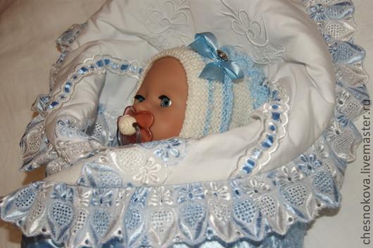 """Для новорожденных, ручной работы. Ярмарка Мастеров - ручная работа. Купить Вязанные шапочка и пинетки """"кроха"""". Handmade. Белый"""