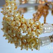 Украшения handmade. Livemaster - original item Champagne bracelet the oversized Baroque pearls quartz. Handmade.