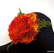 """Украшения ручной работы. Ярмарка Мастеров - ручная работа Валяная брошь """"Пушистая роза"""" Феникс 2. Handmade."""