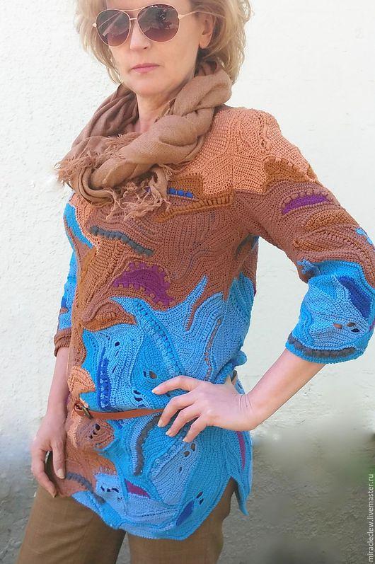 Этническая одежда ручной работы. Ярмарка Мастеров - ручная работа. Купить Вязаная крючком туника в стиле фриформ. Handmade. Комбинированный