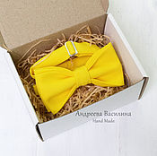 Ties handmade. Livemaster - original item Yellow plain bow tie. Handmade.