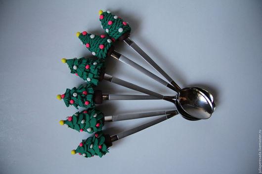"""Ложки ручной работы. Ярмарка Мастеров - ручная работа. Купить Ложки """"Новогодние елочки"""". Handmade. Комбинированный, елочка новогодняя, ложка"""